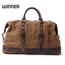 Vintage Military Canvas Leather Big Duffle Bag Men Travel Bags Carry on Traveling Luggage bags Large Road Weekend Women Tote Bag(China)