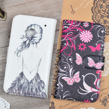 For HTC ONE M7 Dual Sim PU Leather Flip Case For HTC One 802t 802d 802w Dual Sim Printing Pattern Cover Wallet Phone Bags&Cases(China)