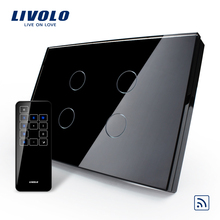 Livolo US/AU Smart Switch, Black Glass Panel, Remote Touch Screen Light Switch With Touch Remote,VL-C304R-82&VL-RMT-03(China)