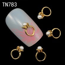 10pc Golden Alloy Glitter 3d Nail Art Rings Decorations with Rhinestones,Alloy Nail Charms,Jewelry on Nails Salon Supplies TN783