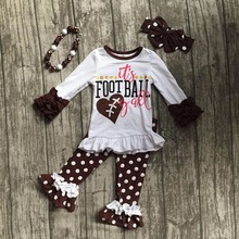baby girls football season outfit clothes baby girls it's football yall clothing girls polka dot pant sets with accessoreis(China)