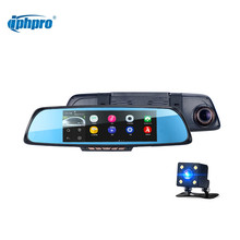 "Iphpro Android 4.4 Car DVR GPS Navigation 1080P FHD 6.86"" Dual Vehicle Camera Rear view Mirror WiFi FM Dash cam Car Electronics"