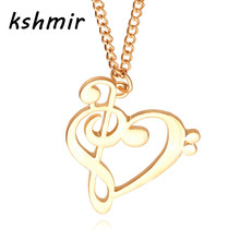 kshmir fashion Hollow out heart music clavicle chain necklace The girl accessories