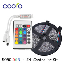 SMD 5050 LED Strip RGB Color Changeable Light Kit 5M 300 LED 60 LED/m DC12V + 24 Keys IR Remote Controller
