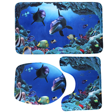 Bathroom Non-Slip Blue Ocean Style Pedestal Rug + Lid Toilet Cover + Bath Mat Happy Gifts High Quality Material(China)