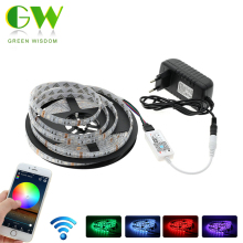 RGB LED Streifen 5050 WiFi Controller Set, 5 Mt RGB Flexible LED-Licht + WiFi RGB Controller + Netzteil.(China)