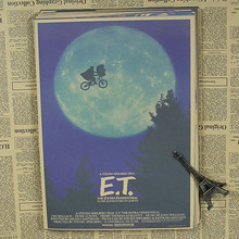 E.T. alien classic science fiction cartoon movie children's study retro nostalgic kraft paper posters retro poster