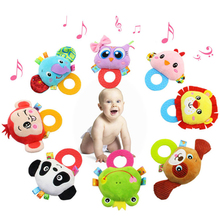 Cute Cartoon owl monkey Animal Hand Bells baby Plush Rattles Infant Playmate Doll Teether Development Kid Toy for children PT766(China)