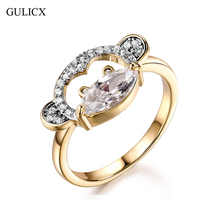 GULICX Cut Monkey Big Proposal Rings for Women Size 9 Cubic Zircon White Anillos Engagement Ring Jewellery Banquet Party Ring(China)