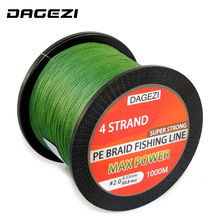 DAGEZI 4 strands 1000m 100% PE Braided Fishing Line 10-80LB Super Strong Japanese 6 colors Multifilament brand fishing lines(China)