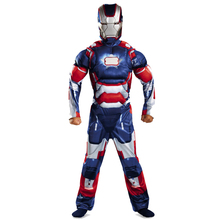 Iron Man Patriot Avengers Halloween Cosplay Costume Kids Muscle Jumpsuits Mask Children Boys Clothes Movie Superhero Clothing