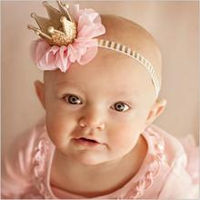 kids girls flower princess crown headband for newborns photography hair accessories kids elastics hair head band wrap ornaments