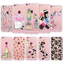 Fashion Girl Makeup Things Blush Cosmetic Back Cases Cover for iphone 4 4s 5 5s SE 5C 6 6s 6 plus Soft Sillicon Clear Phone case