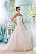 Spring 2017 Lace Appliques Over Satin A-line Gown Dropped Waist Pink Wedding Dresses 116202 Lace Bridal Dresses