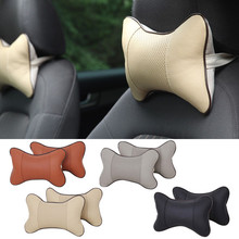2 Pcs/Pair New Leather Headrest Neck Pillow Car Auto Poromeric Seat Covers Head Neck Rest Massage Cushion Headrest Pillows