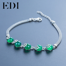 EDI Brand Retro 925 Sterling Silver Round Heart Shape Emerald Gemstone Bracelets For Women Thai silver Fine Jewelry Gift(China)