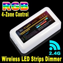 Mi light DC12V-24V 18A 4-zone RF 2.4Ghz 30M Wifi Wireless Touch Screen Control Box LED RGB Strip Lamp Bulb Remote Controller