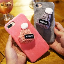 KISSCASE Cute Christmas Fur Case For iPhone 6 6s 7 8 Plus 5 5S SE Plush 3D Hat Phone Cases For Samsung Galaxy S6 S7 Edge Shells