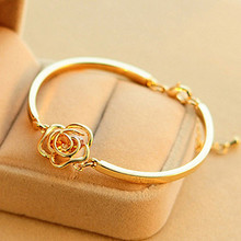 SL115 Bracelets & Bangles Fashion Jewelry Rose Flower Bangle Women Cuff Bracelet Pulseiras Pulseira Feminin