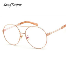 Long Keeper Clear Lens Eyeglasses Double Beam Women's Elegant Reading Glasses Unisex Retro Oval Frame Metal Temples Eyewears(China)