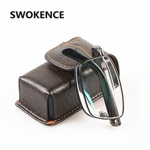 SWOKENCE Upscale Brand Alloy Frame Anti-fatigue Resin Lenses Folding Reading Glasses Women Men Foldable Presbyopia Eyewear R116(China)
