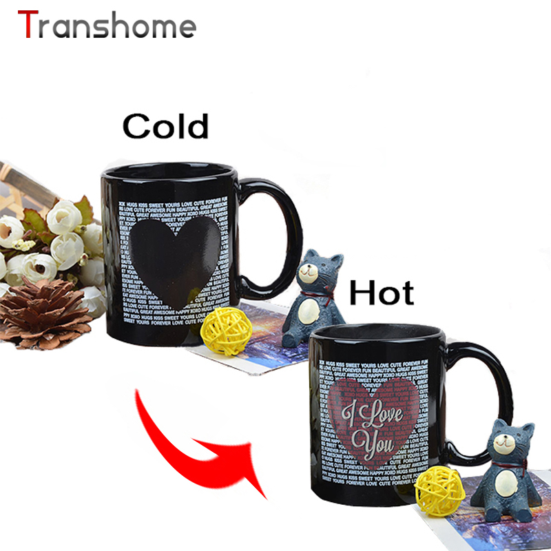 Transhome New Color Changing/Change Porcelain Mug Love Heart Coffee Mug Heat Sensitive Canecas Criativa Ceramic Mugs(China (Mainland))