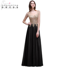 Cheap Women Long Evening Dresses Gold Appliques See Through 2017 Robe de Soiree Longue Lace Evening Gowns Formal Party Dress