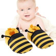 Cotton Soft Cartoon Baby Shoes Ladybug Yellow Bee Pattern Baby Shoes Elastic Band Soft First Walker CottonWarm Winter Kids Shoes(China)