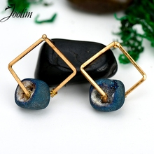 JOOLIM Jewelry Wholesale/ Lightweight Simple  Natural Stone Sqaure Geometric Dangle Earring  Statement Style Design Earring