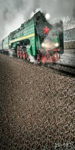 5x7FT Grey Sky Winter Steam Train Locomotive Rail Custom Photo Studio Backdrop Background Vinyl 220cm x 150cm