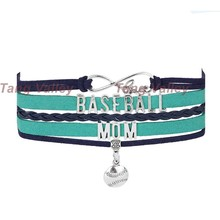 10pcs/lot! Seattle Team Colors Baseball Mom Infinity Charm Bracelet a070