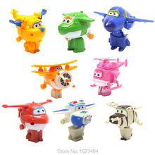 8pcs Super Wings Donnie Dizzy Mini Airplane Robot abs Action Figures Superwings Transformation Jett Figurines Kids Toys For Boys