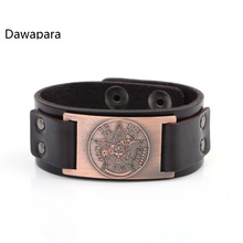 Dawapara Wicca Sigil Studded Cuff Wristband Punk Engraving Pentagram Charm Leather Bracelets Drop Shipping(China)