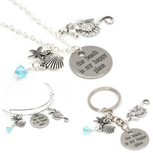 12pcs/lot The beach is my happy place necklace sea animal Shell starfish and sea horse charm pendant necklace bangle keyring(China)