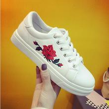 New brand designer shoes woman fashion rose flower embroider creepers black/white leather flats women  platform shoes    X093