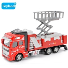 COOL Free shipping multi-function 1:32 alloy model toy aerial fire truck taxied toy,Baby educational toys Toy Vehicles For Gift