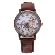Fashion Vintage Retro World Map Watches Women Wristwatch Leather Strap Clock Women Ladies Watch Map reloj mujer relogio feminino(China)