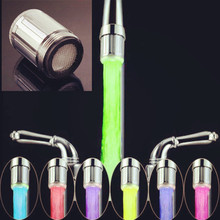2017 Hot Sale LED Water Faucet Light 7 Colors Changing Glow Shower Head Kitchen Tap TE Drop Shipping