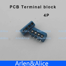 100 pcs 4 Pin Screw blue PCB Terminal Block Connector 5mm Pitch(China)
