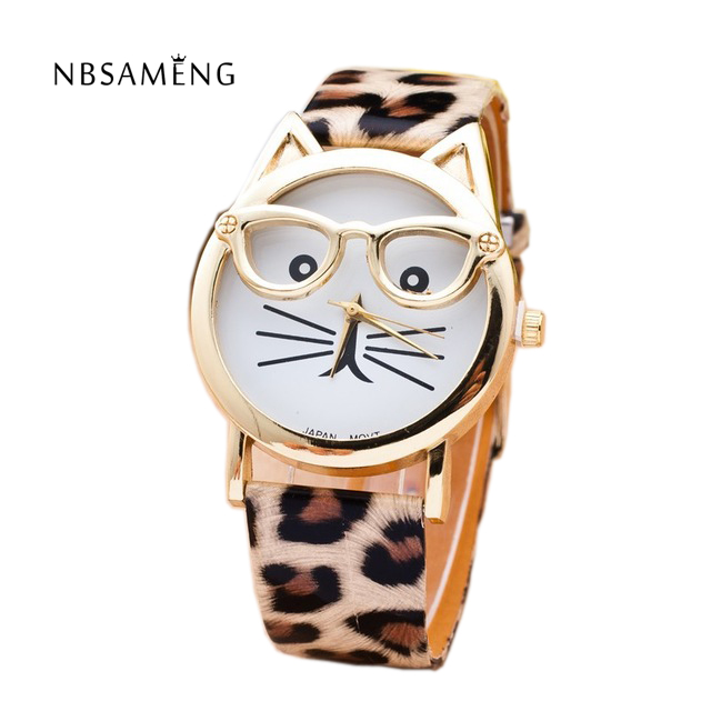 Cat Watch With Glasses Fashion Women Quartz Watches Reloj Mujer 2017 Relogio Feminino Leather Strap New Hot montre LZ106<br><br>Aliexpress