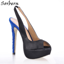 Sorbern Black Satin Slingbacks Peep Toe Slip On Women Heels Stiletto Shoes Evening Party Shoes Open Toe High Heels Pumps New(China)
