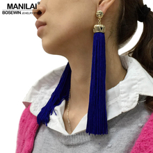 Buy MANILAI 4 Colors Vintage Bohemian Long Tassel Earrings Women Fashion Jewelry Statement Dangle Earrings 2018 Ethnic Earrings for $2.98 in AliExpress store