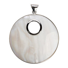 1PC 61x80mm Silver Color Big Round White Natural Mother of Pearl Shell Pendant Charm for DIY Necklace Jewelry Making Accessories(China)