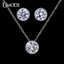 UMODE Jewelry Set for Women with 1 Pair of Small Cute Stud Earrings & 1 White Gold Color CZ Stone Chain Pendant Necklace US0026