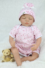dolls for girls Toys For Children Birthday Gift 22 Inch solid silicone reborn babies Handmade lifelike sleeping(China)