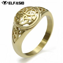 Women's Girl's Stainless Steel Ring Gold Celtic Knot Fashion Jewelry(China)