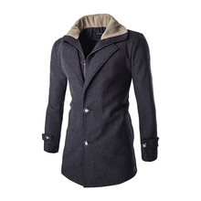 2016 Double Placket Mens Wool Coat Winter Wool Overcoat Men Casual Abrigos Hombres Lana Slim and Long sections Overcoat for Men