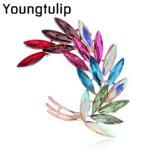 Youngtulip Colorful Crystal Flower Brooches for Women Fashion Cute Beautiful Dresses Brooch Pin Bijouterie High Quality Broches(China)