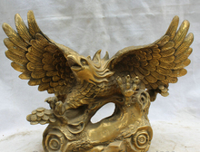 "SCY S62 20"" Chinese Brass Feng shui Folk fly eagle king of bird hawk Statue sculpture"