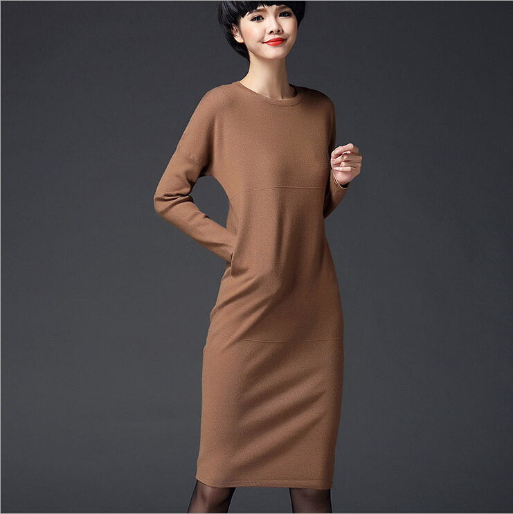 winter dresses women 2017 European style O-neck long sleeve wool bottoming dress knitted sweater women pulloverÎäåæäà è àêñåññóàðû<br><br>